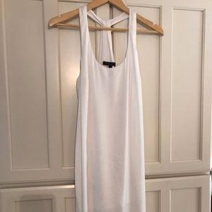 BCBGMaxazria White Silk Racer Back Maxi Dress